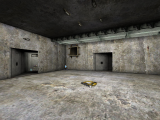 DM-5CubesAtomicShockwave - Concrete room with 2 shafts off. Power-up and weapons visible